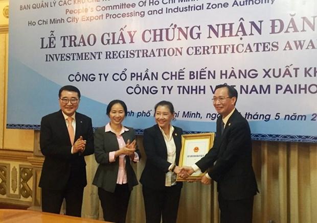 Ho Chi Minh-Ville: remise de la licence d'investissement a deux projets etrangers hinh anh 1