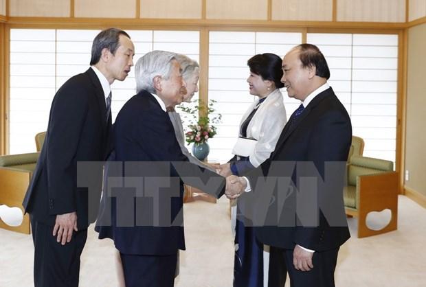 Le PM rencontre l'Empereur et l'Imperatrice du Japon hinh anh 1