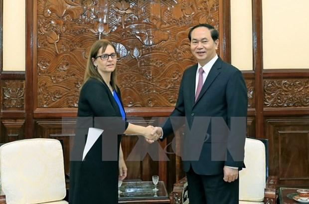 Le president Tran Dai Quang recoit l'ambassadrice israelienne Meirav Eilon Shahar hinh anh 1