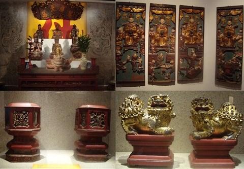 Exposition d'objets en bois laque et dore a Hanoi hinh anh 1