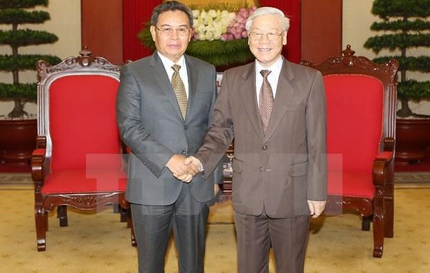 Le leader du PCV recoit des hotes laotiens hinh anh 1
