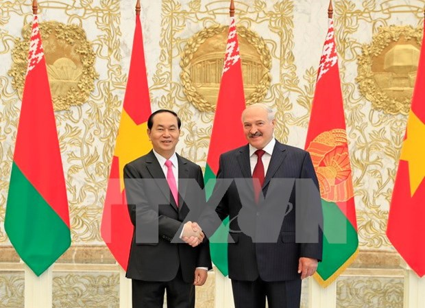 Vietnam-Bielorussie: entretien entre les deux presidents Tran Dai Quang et Alexander Lukashenko hinh anh 1