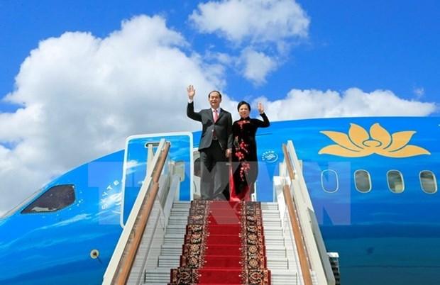 Le president Tran Dai Quang entame sa visite officielle en Russie hinh anh 1