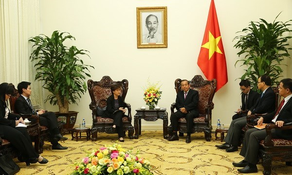 Le vice-PM Truong Hoa Binh recoit l'ambassadrice de Singapour hinh anh 1