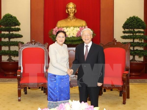 Le leader du PCV Nguyen Phu Trong recoit la presidente de l'AN du Laos Pany Yathotou hinh anh 1