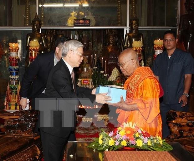 Le secretaire general du PCV rencontre les bonzes superieurs Tep Vong et Bukri du Cambodge hinh anh 1