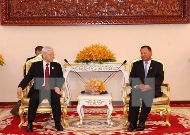 Le secretaire general du PCV rencontre le president du Senat cambodgien hinh anh 1