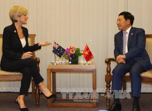 AMM-50 : rencontre entre le chef de la diplomatie vietnamienne et ses homologues hinh anh 2