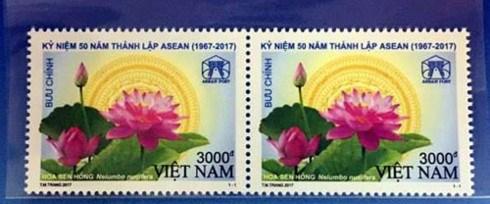 Emission d'un timbre postal saluant le cinquantenaire de l'ASEAN hinh anh 1