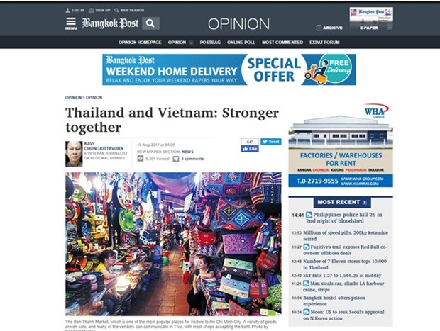 La presse thailandaise apprecie les perspectives des relations Vietnam-Thailande hinh anh 1