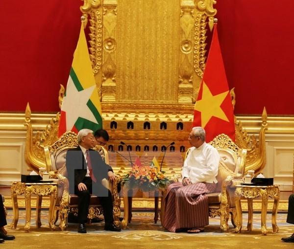 Entretien entre le secretaire general Nguyen Phu Trong et le president du Myanmar Htin Kyaw hinh anh 1
