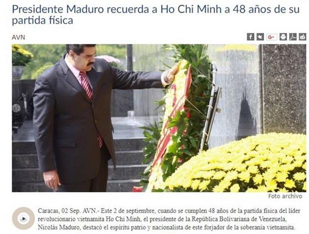 Le president venezuelien Maduro exalte le patriotisme et le nationalisme du President Ho Chi Minh hinh anh 1