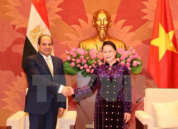 La presidente de l'AN Nguyen Thi Kim Ngan recoit le president egyptien hinh anh 1