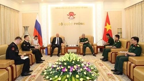 Le vice-ministre de la Defense Nguyen Chi Vinh recoit des responsables etrangers hinh anh 1