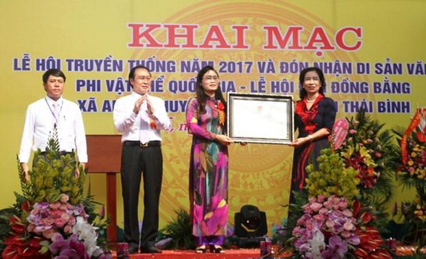 Thai Binh : le festival du temple Dong Bang reconnu comme patrimoine national hinh anh 1