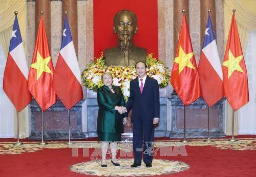 Le president Tran Dai Quang recoit la presidente du Chili Michelle Bachelet hinh anh 1