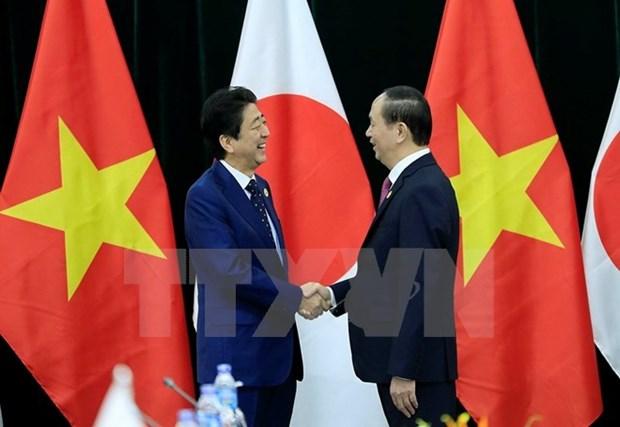 Le president Tran Dai Quang recoit les Premiers ministres du Japon et du Brunei hinh anh 1