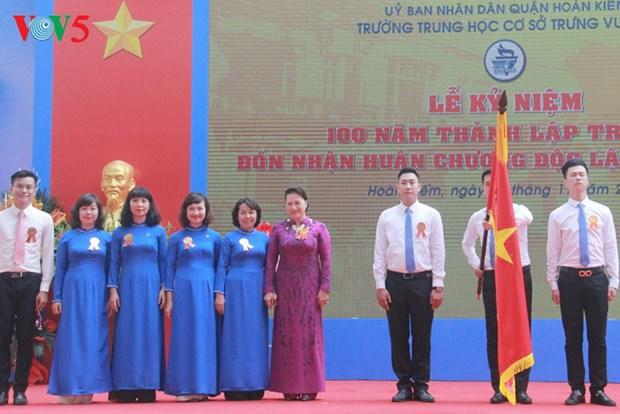 La presidente de l'AN au centenaire du college Trung Vuong a Hanoi hinh anh 1
