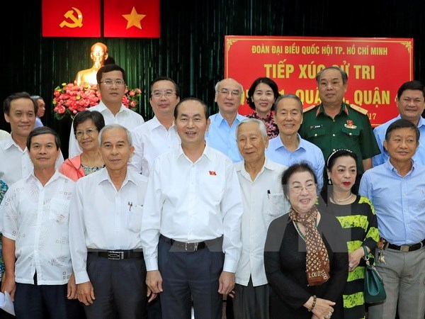 Le president Tran Dai Quang rencontre des electeurs de Ho Chi Minh-Ville hinh anh 1