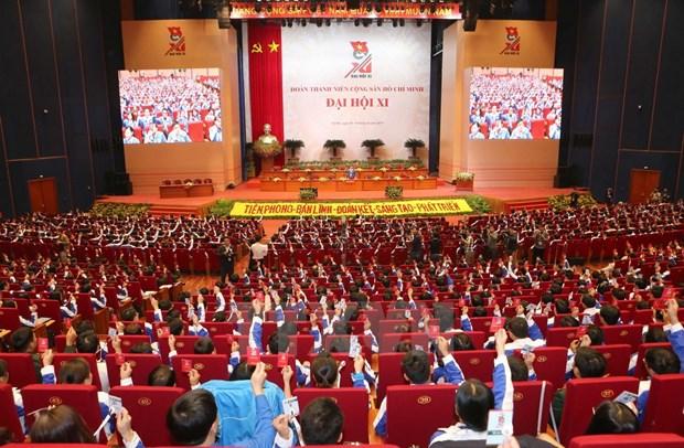 Debut de la premiere seance du 11e Congres national de l'UJC-HCM hinh anh 1