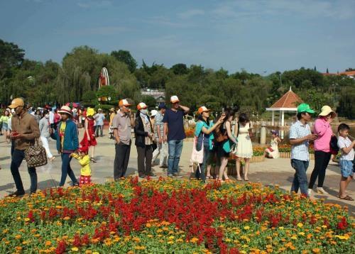 Da Lat : Plus de 60.000 visiteurs a l'exposition de fleurs et de plantes d'agrement hinh anh 1