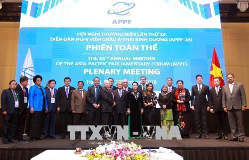 APPF-26 : adoption de la Declaration de Hanoi sur le partenariat parlementaire Asie-Pacifique hinh anh 1