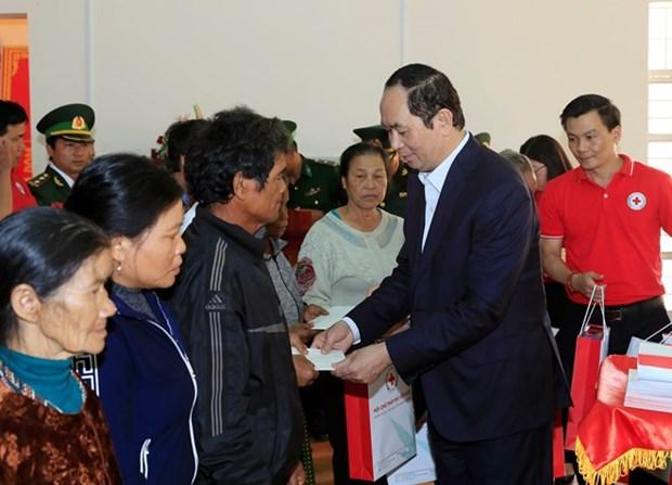 Tet : le president Tran Dai Quang rend visite a des cadres, soldats et habitants de Gia Lai hinh anh 1