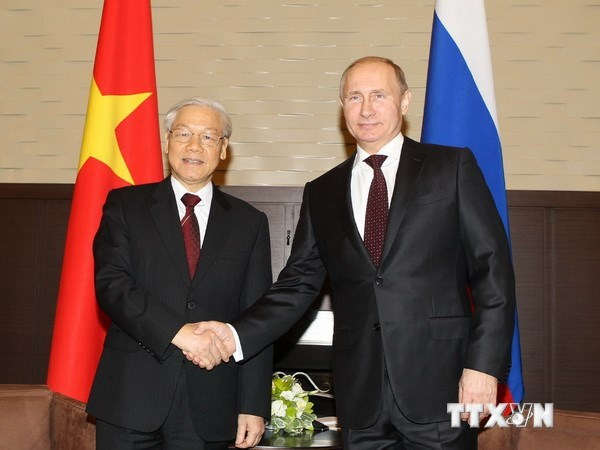Le secretaire general Nguyen Phu Trong felicite le president russe V. Poutine hinh anh 1