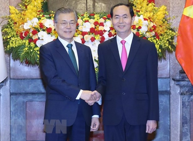 Le president Tran Dai Quang et son homologue sud-coreen president un point presse conjoint hinh anh 1