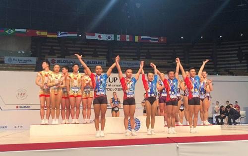 Coupe du monde de gymnastique Aerobic Suzuki 2018 : neuf medailles pour le Vietnam hinh anh 1