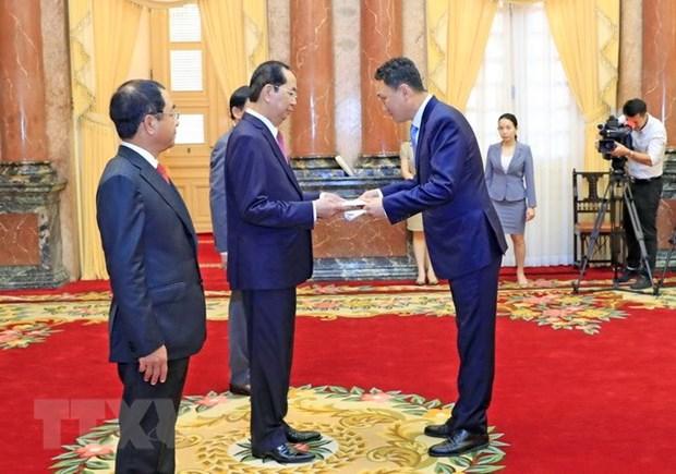 Le president Tran Dai Quang recoit de nouveaux ambassadeurs hinh anh 3