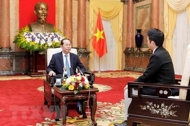 Le president du Vietnam souligne le developpement heureux des liens Vietnam-Japon hinh anh 1