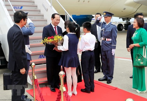 Le president Tran Dai Quang et son epouse en visite d'Etat au Japon hinh anh 1
