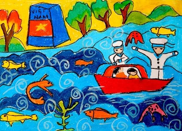 Exposition de peintures d'enfants handicapes a Da Nang hinh anh 1