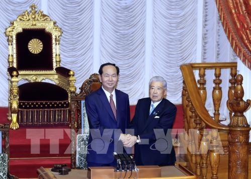 Entrevue Tran Dai Quang-president de la Chambre des conseillers du Japon hinh anh 1