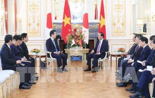 Le president Tran Dai Quang recoit le president du Parti Komei du Japon hinh anh 1