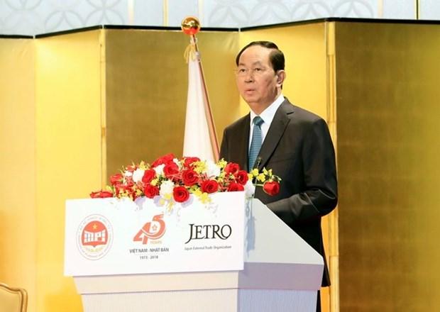 Le president Tran Dai Quang recoit le president de l'Alliance parlementaire d'amitie Japon-Vietnam hinh anh 1