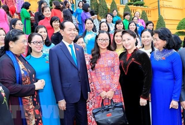 Le president Tran Dai Quang rencontre les deputees de la 14e legislature de l'AN hinh anh 1