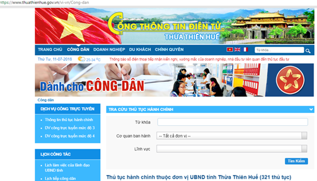 Thua Thien-Hue en tete du pays dans le developpement de l'e-gouvernement hinh anh 1
