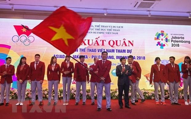 Ceremonie de depart de la delegation vietnamienne aux ASIAD 2018 en Indonesie hinh anh 1
