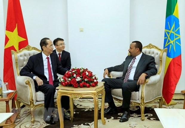Entrevue entre le president Tran Dai Quang et le Premier ministre ethiopien Abiy Ahmed hinh anh 1