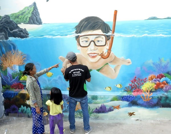 L'IUCN lance un programme de fresques murales a An Binh hinh anh 1