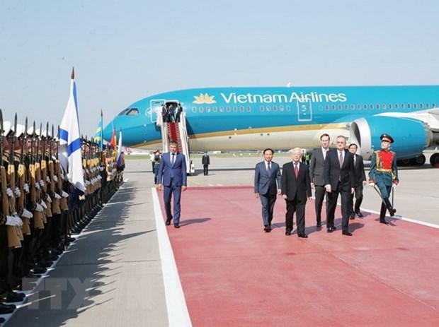 Le leader du PCV Nguyen Phu Trong entame une visite officielle en Russie hinh anh 1