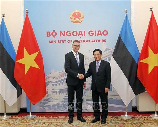 Le vice-PM Pham Binh Minh s'entretient avec le ministre estonien des AE hinh anh 1