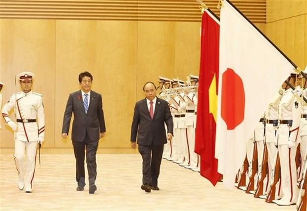 La ceremonie d'accueil officielle du Premier ministre Nguyen Xuan Phuc a Tokyo hinh anh 1