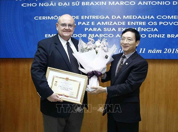 Insigne pour la paix et l'amitie entre les nations a l'ambassadeur bresilien au Vietnam hinh anh 1