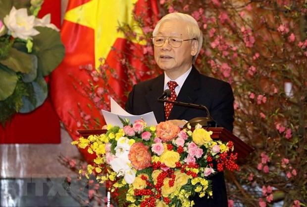 Le SG et president Nguyen Phu Trong formule les meilleurs vœux du Tet hinh anh 1