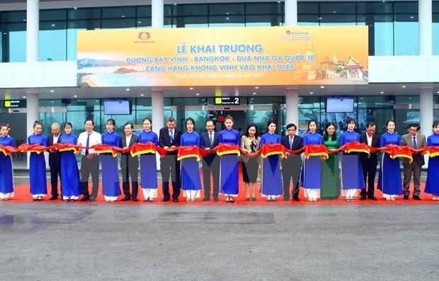 L'aeroport international de Vinh accueille les premiers touristes etrangers hinh anh 1