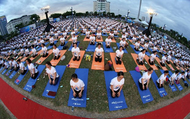 La 5e Journee internationale du Yoga celebree a Da Nang hinh anh 1