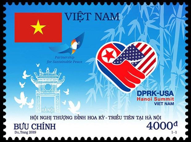 Un timbre en l'honneur du sommet Etats-Unis-Republique populaire democratique de Coree hinh anh 1